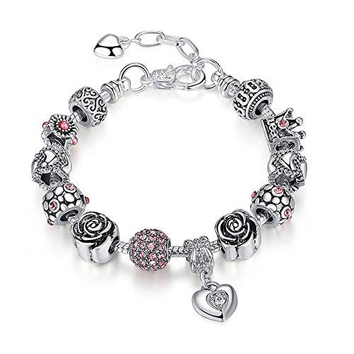 A TE Bracciale Charms da Donna Beads cristalli Rosa Regalo Festa #JW-B129