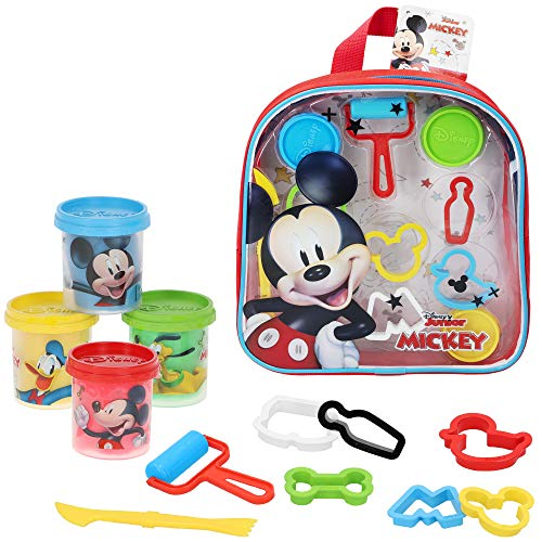 Disney - Plastilina infantil 4 Botes Plastilina Niños 3 años con moldes 2D y accesorios Plastilina no tóxica Juguetes educativos Manualidades niños Pack plastilina Mochila Disney
