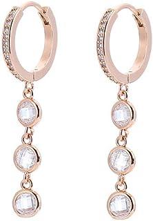 Orecchini pendenti in cristallo colorato da donna, orecchini a cerchio in argento anallergico e oro rosa con zircone (#1 C...