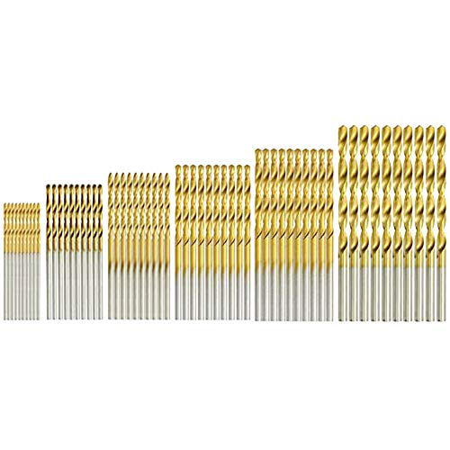 HSS Drill Bit Set 60 PCS 1mm 1.5mm 2mm 2.5mm 3mm 3.5mm Titanium Coated HSS Drill Bit Set Titanium Metal Twist Drill Bit Set Tools High Speed Twist Drill Bit Set for Wood Plastic Aluminum Alloy Copper