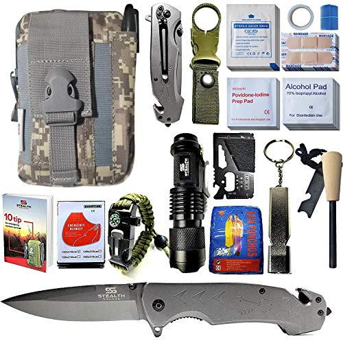 STEALTH SQUADS 42 in 1 Survival Military Pouch KIT, Premium Tactical Pocket Knife, First AID KIT, EDC Multi-Tool USE for Camping, Hiking, Biking, Outdoor Safety Gears w/Bonus E-Book (CAMO ACU)