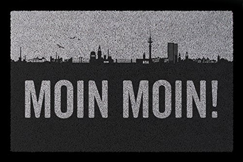 Interluxe FUSSMATTE Türmatte Moin Moin Hamburg Stadt Einzug Geschenk Schmutzmatte Hellgrau