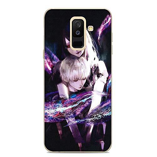 LUOKAOO Ultra TPU Silicone Rubber Gel Edge Protection Cover Case for Samsung Galaxy A6 Plus/J8 2018/A9 Star Lite-Ken-Kaneki Anime Boy Season 2