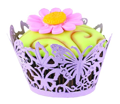 Hortense B. Hewitt Wedding Accessories Lavender Butterfly Decorative Cupcake Wraps, 25 Count