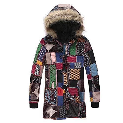 Men's Coat with Fur Hood Long Sleeve Lined Warm Coat Transition Jacket Parka Jacket Men's Outdoor Ethnic Print with Zip Outwear Hoodie Hooded Jacket Winter Autumn New top 3XL