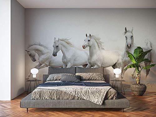 Oedim Fotomural Vinilo para Pared Caballos Blancos   Mural   Fotomural Vinilo Decorativo   200 x 150 cm   Decoración comedores, Salones, Habitaciones
