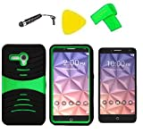 Heavy Duty Hybrid w Kickstand Phone Cover Case Cell Phone Accessory + Extreme Band + Stylus Pen + Screen Protector + Pry Tool For Alcatel One Touch Fierce XL 5054 5054N (S-Hybrid Black Green)
