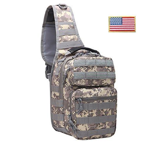 FAMI Tactical Sling Backpack, Military Rover Shoulder Sling Bag Pack, Molle Assault Range Bag Day Pack-ACU