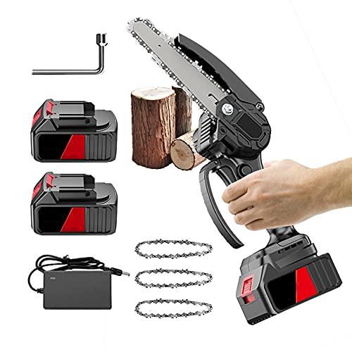 FGHFD Mini Motosierra Electrica, Sierra de Podar Eléctrica Portátil para Corte de Madera, Electric Chain Saw con 2 Batería y Cargador, Negro