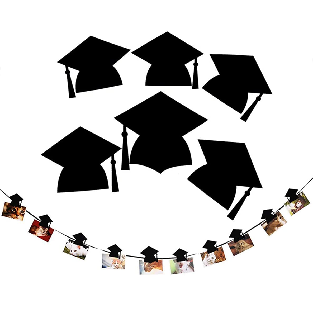 Alina Graduation Hat Shaped Photo Banner for Graduate Party Decoration, 3 Meters Bunting Garland Photo Props Backdrop with Clips