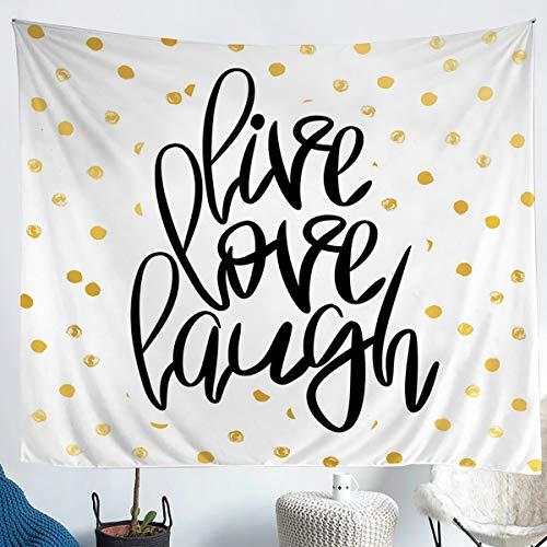 Tapiz de lunares geométricos para niños y niñas, para colgar en la pared con purpurina dorada, rústica, manta de cama moderna y simple tapiz, tapiz de pared XLarge 69 x 91, color blanco