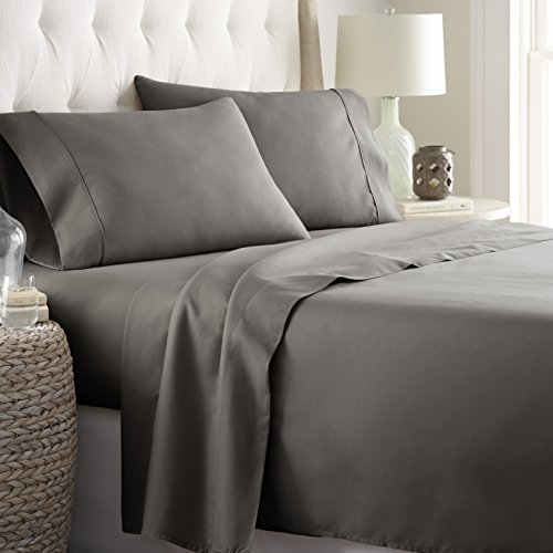 Hotel Luxury Bed Sheets Set 1800 Series Platinum Collection Softest Bedding, Deep Pocket,Wrinkle & Fade Resistant (King,Gray)