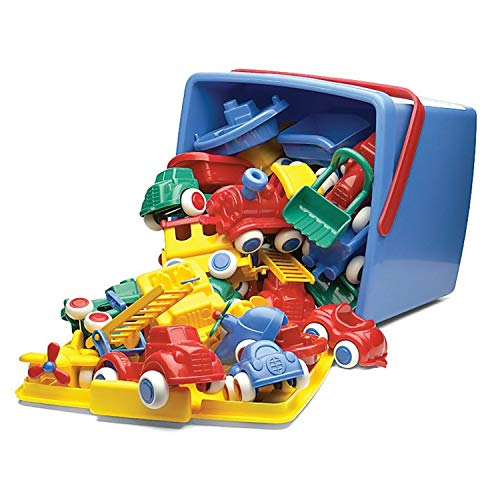 Viking Toys Maxi and Chubbies Bucket Set Toy Vehicles, Red/Blue/Green/Yellow