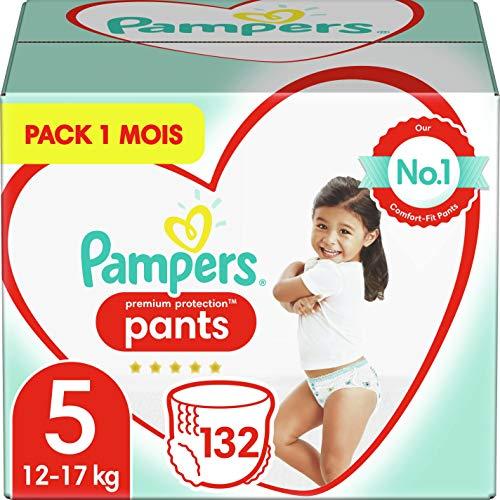 Pampers Couches-Culottes Premium Protection Pants Taille 5 (12-17kg) notre N°1 pour la protection des peaux sensibles, Faciles à Changer, 132 Couches-Culottes (Pack 1 Mois)