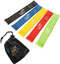 5 differently colored Fit Simplify resistance loop exercise bands with a black carrier bag