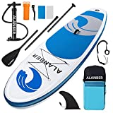 ALanber Inflatable Paddle Board 10'6'x32'x6' Ultra-Light (18.6lbs) - Non-Slip SUP with Backpack, Adj Stand Up Paddle Board Paddle, Safety Leash & Hand Pump in River, Oceans and Lakes (Blue)