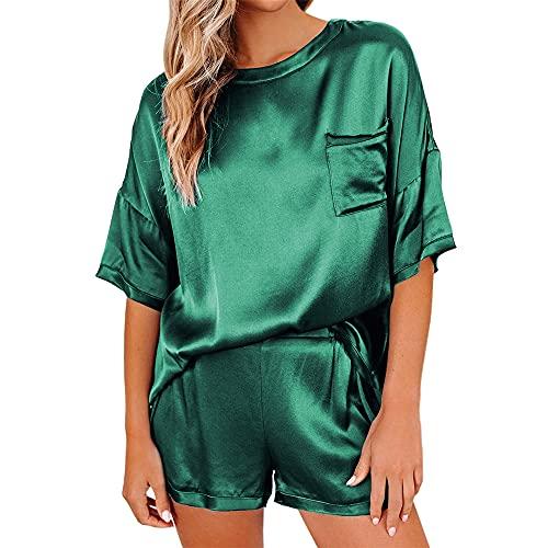 PRJN Pijamas de Verano para Mujer, Pijamas de 2 Piezas, Conjunto de Pijamas para Mujer, Camiseta de Manga Corta y Pantalones Cortos, Conjunto de Pijamas, Pijamas para Mujer, Ropa Informal, Conjunto
