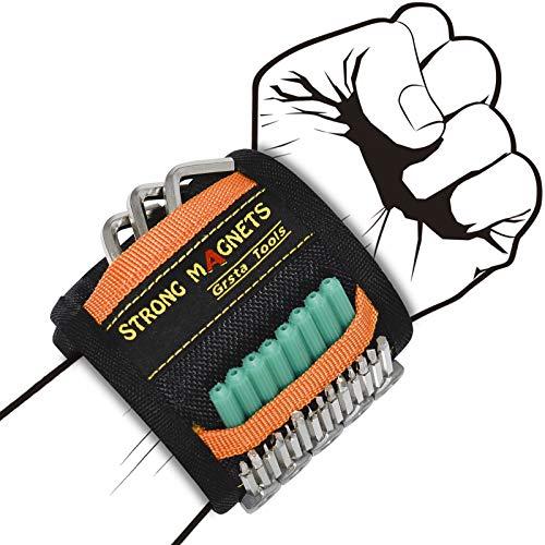 Grsta Pulsera Magnética Ajustable Con 15 Potentes Imanes, Regalos Para Hombres Cinturon De Herramientas De Bricolaje, Que Sostienen Tornillo, Clavos, Perno, Broca, Herramientas pladur (1 paquete)