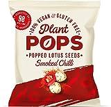 Plant Pops | Palomitas de semillas de loto con sabor a guindilla ahumada 100% veganas, sin gluten y bajas en calorías. Proteína saludable, natural, hechas en la India | 98 kcal/bolsa | 6 uds. x 20 g