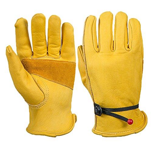 Garten Handschuhe Rinderslederarbeitshandschuhe, Arbeitshandschuhe Garten Leder Handschuhe Gelb (XL)