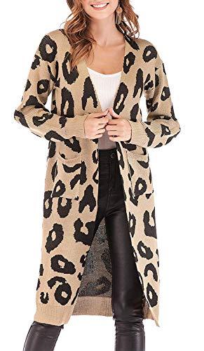 OrientalPort Cardigan Damen Lang Strickmantel Leopard Strickjacke Langarm Patchwork Pullover Mantel Casual Kimono Winter Warm Parkajacke Outwear-A Khaki-S