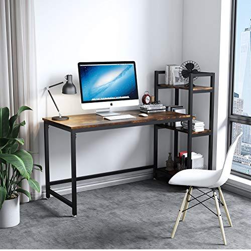 Dripex Kompakte Schreibtisch 126x60x108cm Holz Computertisch mit 3 Ablage, PC-Tisch Bürotisch Officetisch Eckschreibtisch Stabile Konstruktion Tisch für Home Office (Rustic Braun)