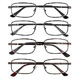 EFE Gafas de Lectura 4-Pack para Mujeres y Hombres Diseño de bisagras reforzadas ajustable Rectángulo Estilo Diseñador Ligeros Cómodos con Montura de Gafas de Metal 1.5x