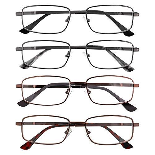 EFE Gafas de Lectura 4-Pack para Mujeres y Hombres Diseño de bisagras reforzadas ajustable Rectángulo Estilo Diseñador Ligeros Cómodos con Montura de Gafas de Metal 3.0x