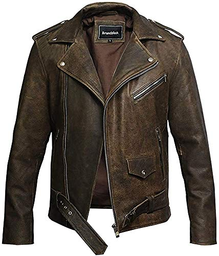 BRANDSLOCK Mens Genuine Leather Biker Jacket Cowhide Brando Rustic (Large / (Fits Chest: 38-40 inches), Rustic Brown)
