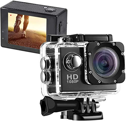 GUTSBOX Action Cam 1080P 170° Weitwinkel Aktionkameras Unterwasserkamera,Full HD Unterwasser Aktion Kamera,2 Zoll LCD Bildschirm,Unterwasser 40m Wasserdicht mit Zubehör Kits (Schwarz)