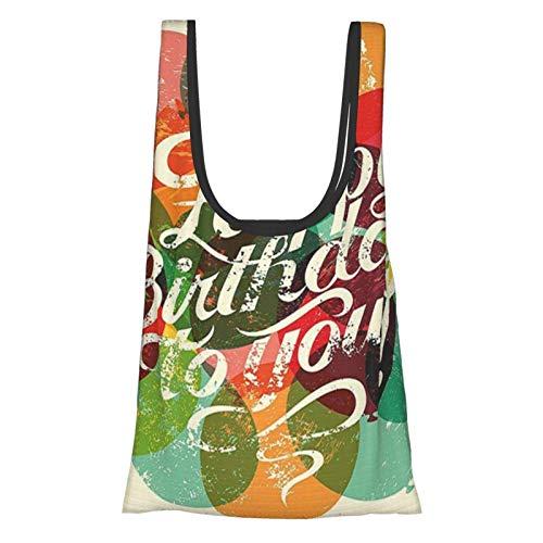 Hdaw Geburtstagsdekorationen, typographische Retro-Grunge-Geburtstagskarte, inspirierte Vintage-Luftballons, mehrfarbig, wiederverwendbar, faltbar, umweltfreundliche Einkaufstaschen