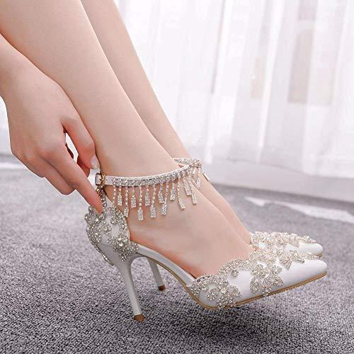 xiangqian avondjurk bruid trouwschoenen party paleisschoenensandalen met hoge hakken steentjes sandalen stiletto puntige sandalen wit met hoge hakken super hoge hak (8CM of meer)