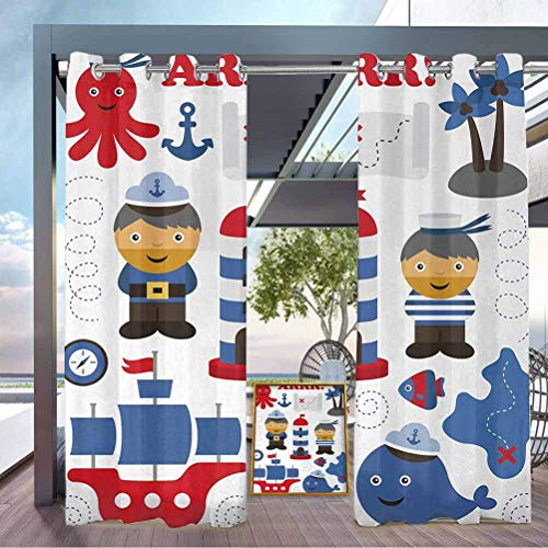 crabee Ahoy Its a Boy Washable Curtains Airy Panel for Pavilion Farmhouse Cabin Sea Theme Objects Collection Fishes Ship Lighthouse Sailors Octopus Blue Red White