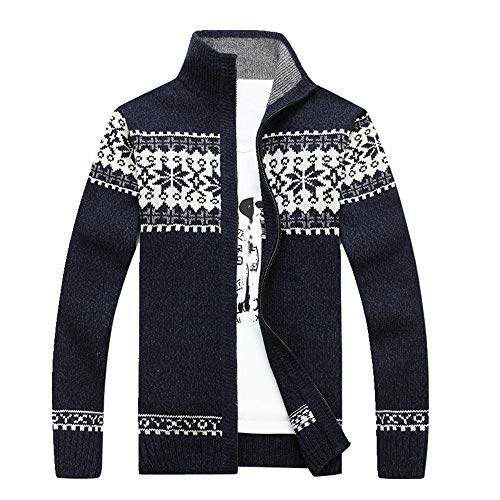 Arrivals Casual Sweater Herren Gestreifter Weihnachtspullover Windbreaker Warme Strickjacke Herren Pullover Gr. XXXL, dunkelblau