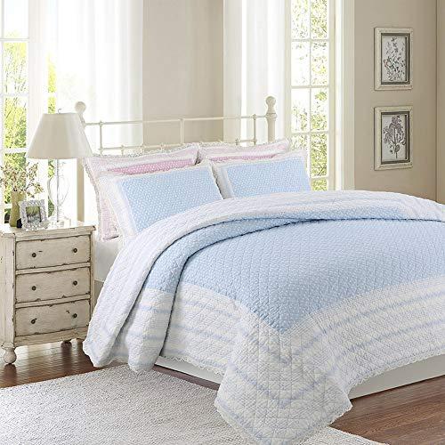 Gewatteerde quilt katoenen kanten rand stip enkele en dubbele lichtgewicht zomer airconditioner quilt, zweetabsorberende ademend gemakkelijk te onderhouden