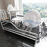 SAYZH Dish Rack and Drainboard Set with Mat, 2 Tier Large Aluminum Dish Drying Rack with Utensil Holder & Cup Holder for Kitchen Countertop