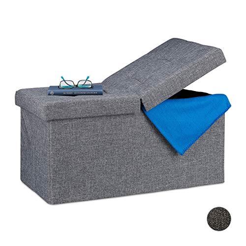 Relaxdays Sitzbank, mit Stauraum, faltbar, gepolstert, klappbarer Deckel, Flur, Schlafzimmer, Truhenbank, dunkelgrau