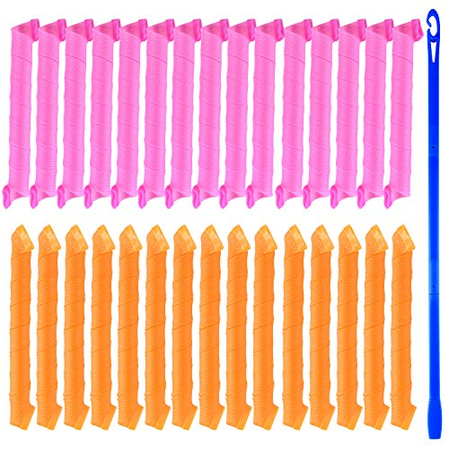 TUPARKA 30 Pcs Rulos para el Pelo, Rizos Espirales Kit, para Pelo Largo, Mediano y Corto
