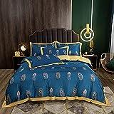 juegos de sábanas 160x200 verano,Lavar el conjunto de cuatro piezas de seda, cómoda sedosa cama de verano reversible de una sola almohada de la cama de la almohada Suministros de cama regalo-GRAMO_1,