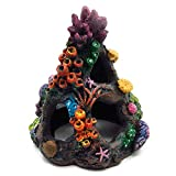 Vinyl Etchings Coral Aquarium Decoration Fish Tank Resin Rock Mountain Cave Ornaments Betta Fish House for Betta Sleep Rest Hide Play Breed