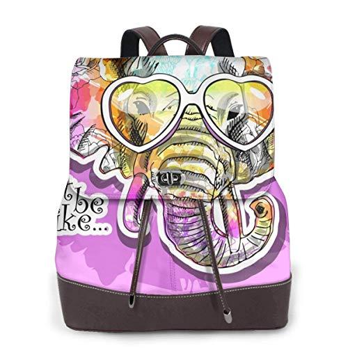 Yuanmeiju Womens Backpack Purse Cute Animl Elephant Floral with Heart Glasses, Purple Shoulder Bookbag Leather College Bag Girls