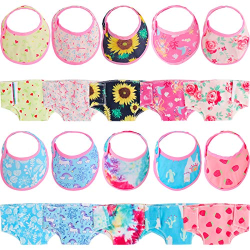 SOTOGO 20 Pieces Doll Diapers Doll Underwear Doll Bibs Doll Accessories for 14-18 Inch Baby Dolls and American Girl Doll
