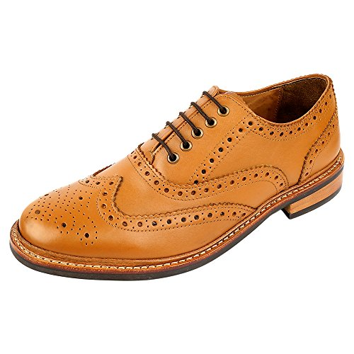 DLT Men's Genuine Italian Leather with Rubber Sole Goodyear Welted Oxford Dress Shoes 8 Tan