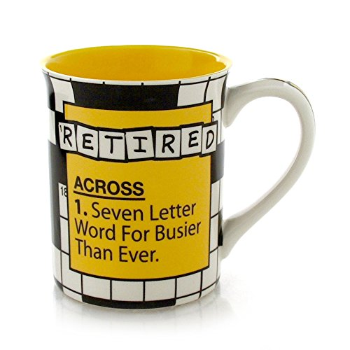 "Our Name is Mud ""Retire Crossword"" Stoneware Mug, 16 oz."