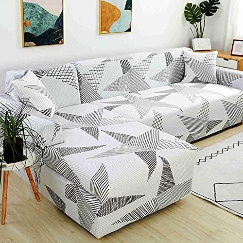DWSM - Juego de funda elástica para sofá 1 2 3 4 plazas, extensible, funda de protección extensible con reposabrazos (O,4 plazas, (235-300 cm)