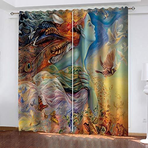 WLHRJ Cortina Opaca en Cocina el Salon dormitorios habitación Infantil 3D Impresión Digital Ojales Cortinas termica - 140x100 cm - Patrón de impresión de niña de ensueño
