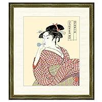 浮世絵 喜多川歌麿 ビードロを吹く娘(びーどろをふくむすめ) F8 美人画 [g4-bu030-F8] インテリア