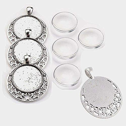 Perlin - 4 Set Stern Motive Medaillons Silber Metall Anhänger Fassungen und 25mm Rund Klar Glas Cabochon, Fassung Rahmen Super Optik Bastelset