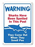 Piscina segni – Sharks have been Spotted in questo segno Pool – piscina regole – large 10 x 14 aluminum Sign metal Signs cartelli stradali vintage segni di latta placche decorative Plaque