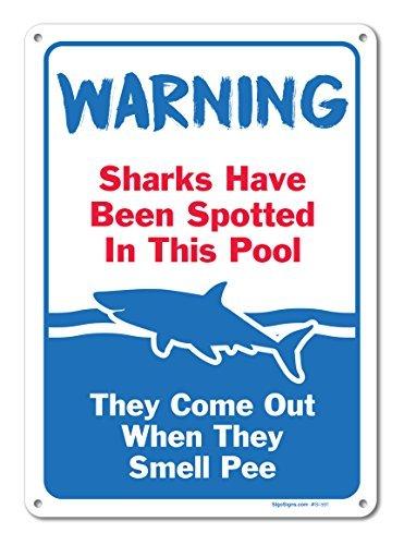 bienternary Pool Schilder–Sharks Wurden Entdeckt in Diesem Pool–Pool Rules–Den Großen 10x 14Aluminium Schild Blechschilder Vintage Road Schilder Dose Teller Schilder Dekorativer